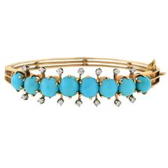 Victorian Persian Turquoise Diamond Hinged Bracelet