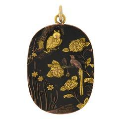 Victorian Shakudo Mixed Metals Pendant with Bird and Owl Motif