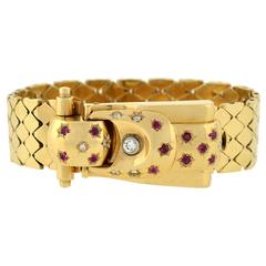 Retro Yellow Gold Diamond Ruby Buckle Bracelet Wristwatch