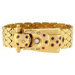 Retro Yellow Gold Diamond Ruby Buckle Bracelet Wristwatch