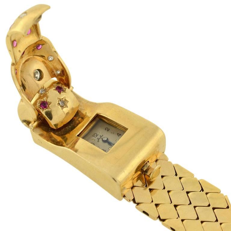 Retro Yellow Gold Diamond Ruby Buckle Bracelet Wristwatch For Sale 2