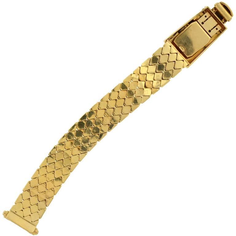 Retro Yellow Gold Diamond Ruby Buckle Bracelet Wristwatch For Sale 3
