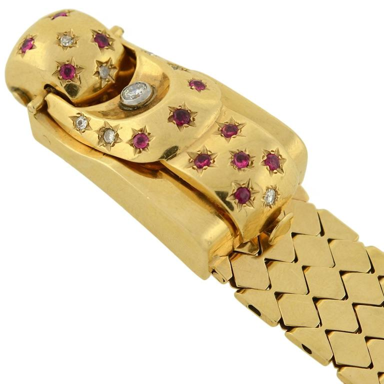 Retro Yellow Gold Diamond Ruby Buckle Bracelet Wristwatch In Excellent Condition For Sale In Narberth, PA