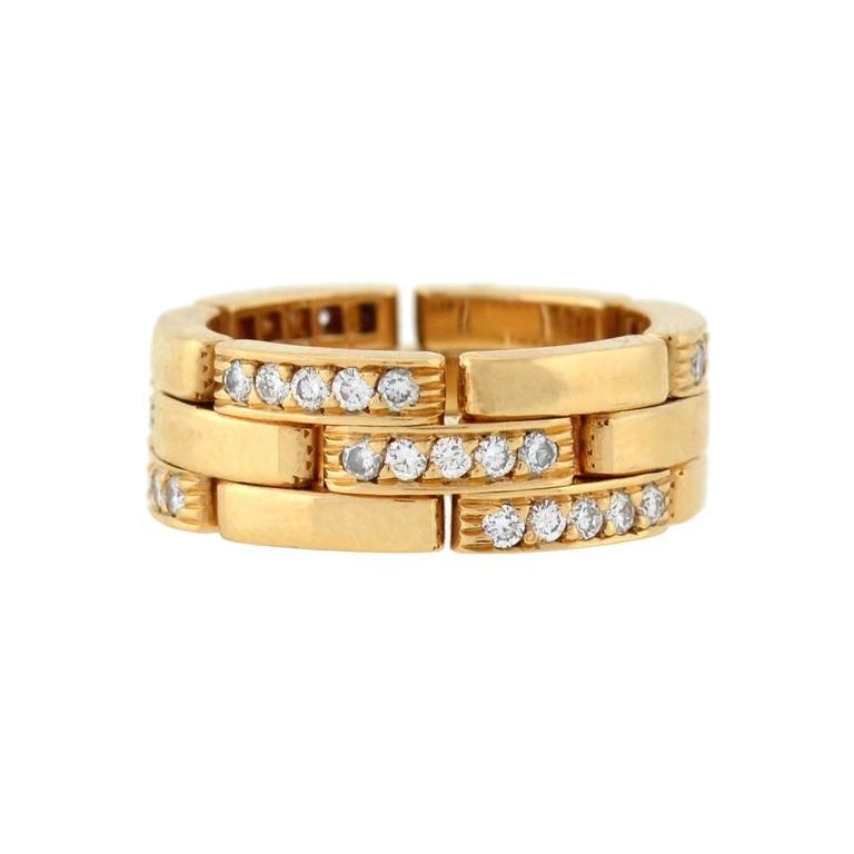 Cartier Paris Contemporary Hinged Diamond Pavé Gold Band Ring
