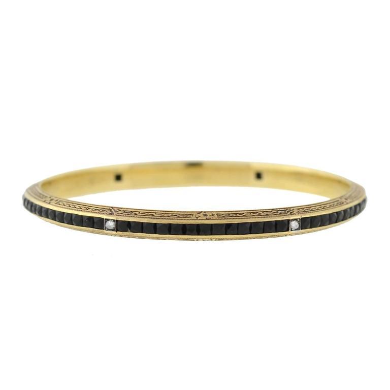 Art Deco French Cut Onyx Diamond Bangle Bracelet