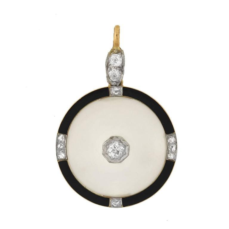 Victorian rock crystal diamond garnet and tiger eye bug pendant at art deco rock crystal diamond yellow gold platinum enameled pendant aloadofball Gallery