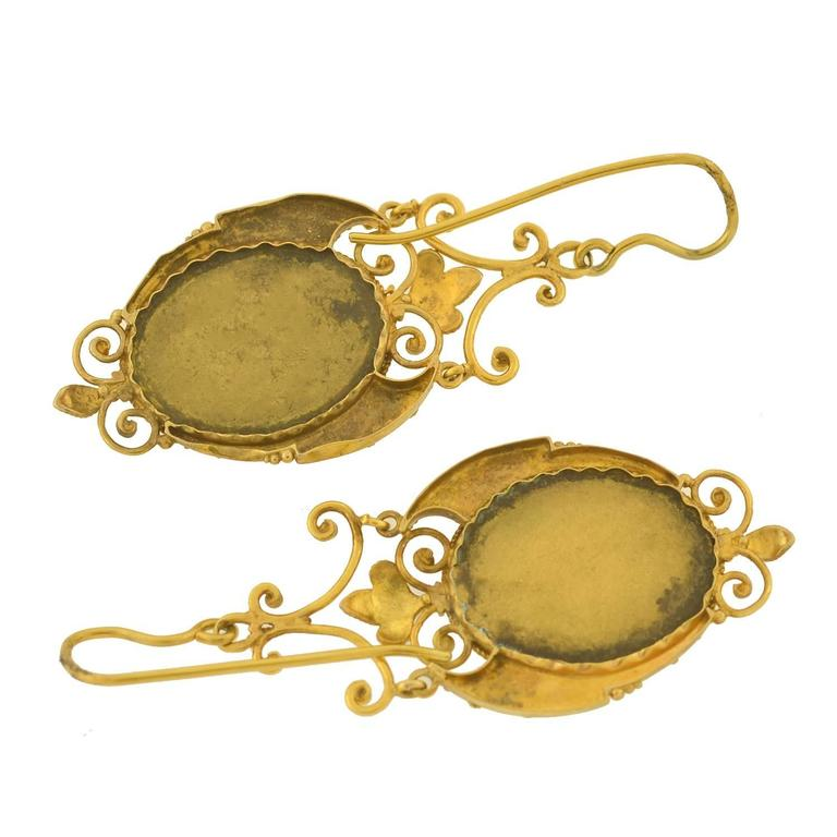 Victorian Etruscan Pietra Dura Earrings 6