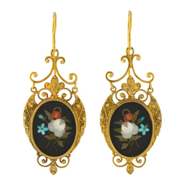 Victorian Etruscan Pietra Dura Earrings 1