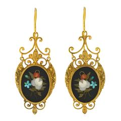 Victorian Etruscan Pietra Dura Earrings