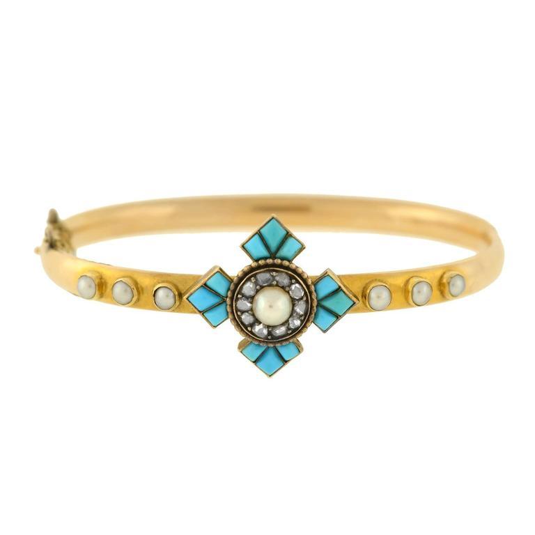 Victorian Persian Turquoise Rose Cut Diamond Pearl Gold Bangle Bracelet