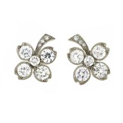 Tiffany & Co. Retro Diamond Palladium Clover Stud Earrings