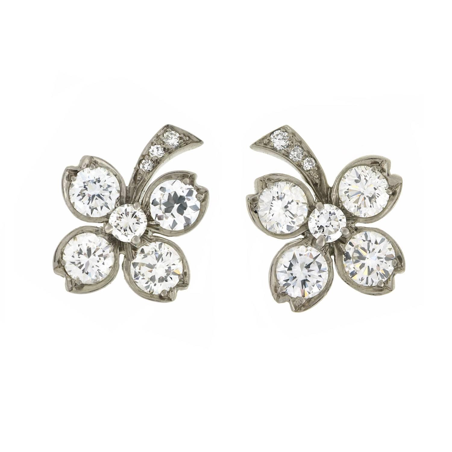 Tiffany And Co Retro Diamond Palladium Clover Stud Earrings For Sale At  1stdibs