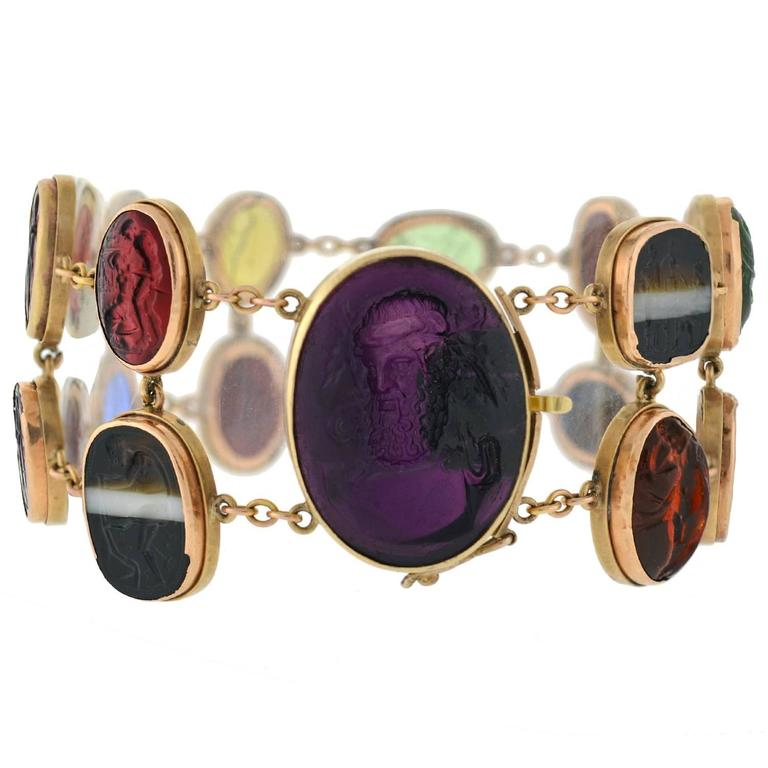 Early Victorian Glass Tassie and Agate Intaglio Link Bracelet in Original Box