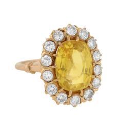 GIA Certified 5.65 Carat Natural Ceylon Yellow Sapphire Diamond Ring