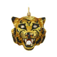 Victorian Diamond Enameled Tiger Pendant