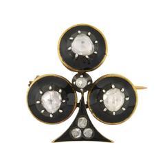 Victorian French Black Enameled Diamond Trefoil Pin