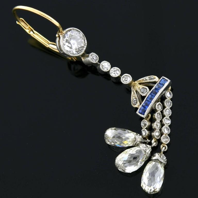 edwardian briolette sapphire earrings 3 carat for