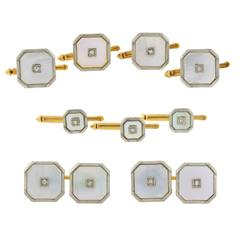 Larter & Sons Edwardian Mother-of-Pearl Diamond Nine-Piece Cufflink Set