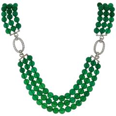 J.E. Caldwell Art Deco Diamond Chrysoprase Bead Necklace