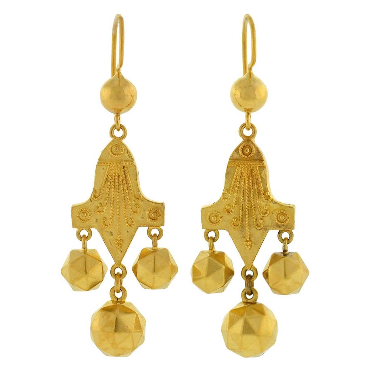 Victorian Etruscan Gold Earrings