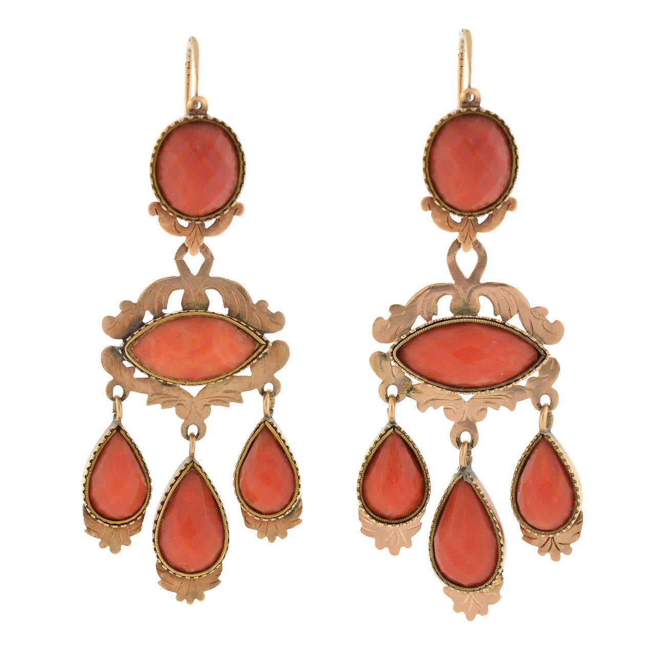 Victorian Faceted Coral Gold Dramatic Day and Night Earrings