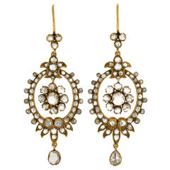 Victorian Rose Cut Diamond Gold Earrings
