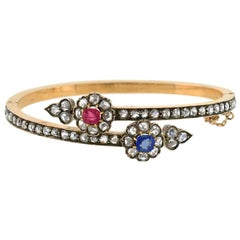 Victorian Ruby, Sapphire and Diamond Flower Bypass Bracelet