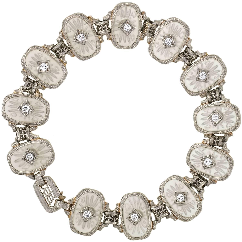 Krementz Art Deco Reverse Carved Rock Crystal Diamond Link Bracelet