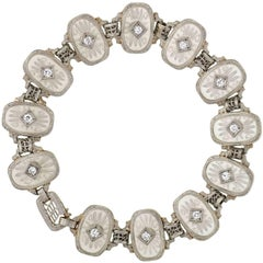 Krementz Art Deco Reverse Carved Rock Crystal Diamond Link Bracelet