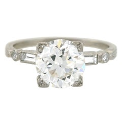 Late Art Deco GIA Certified 2.19 Carat Diamond Engagement Ring