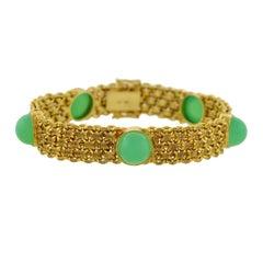 Vintage Chrysoprase Cabochon Gold Chainmail Bracelet