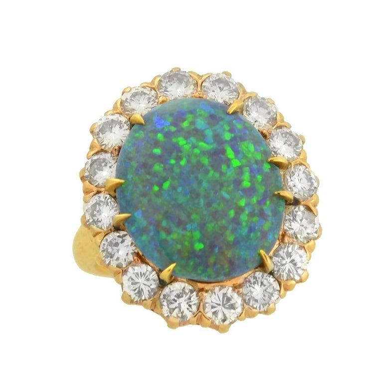 Vintage 3 Carat Black Opal Diamond Cluster Ring at 1stdibs