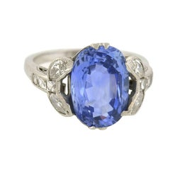 Art Deco GIA Certified 4.15 Carat Natural Sapphire and French Cut Diamond Ring