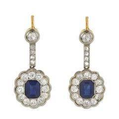 Edwardian Sapphire Diamond Cluster Earrings