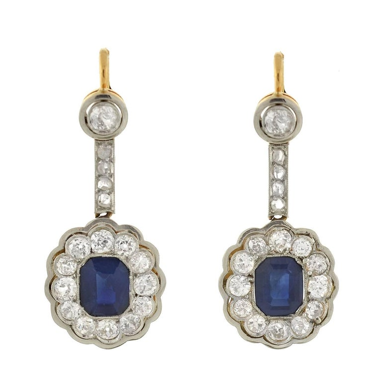 Edwardian Sapphire Diamond Cluster Earrings