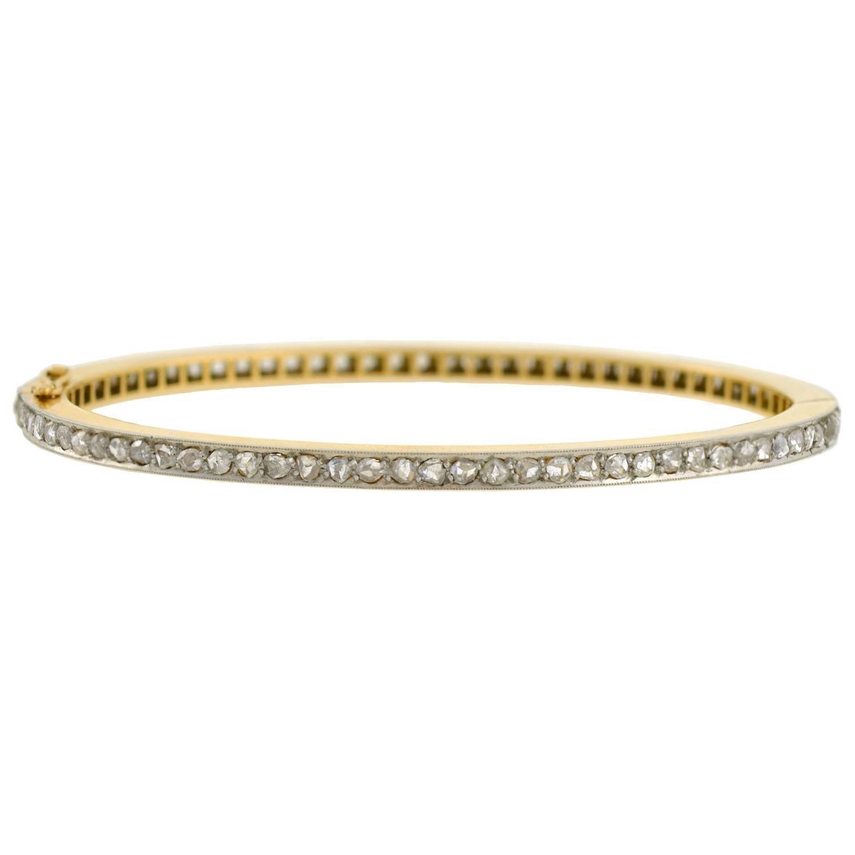 Edwardian 1.25 Total Carat Rose Cut Diamond Bangle Bracelet