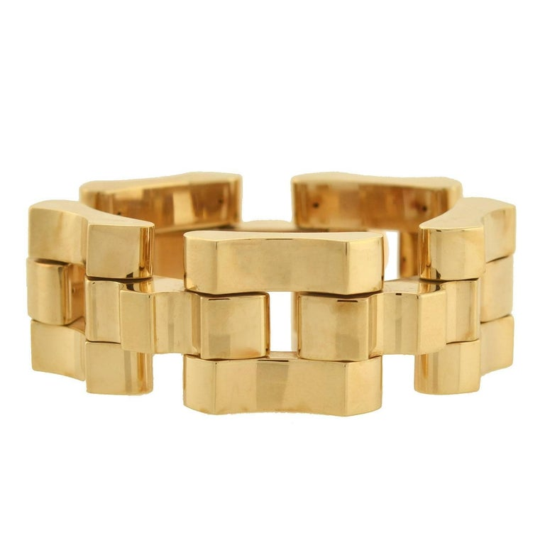 Tiffany & Co. Retro Tire Track Link Gold Bracelet