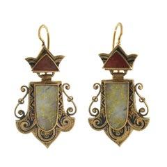 Victorian Carnelian Gold Quartz Enameled Earrings