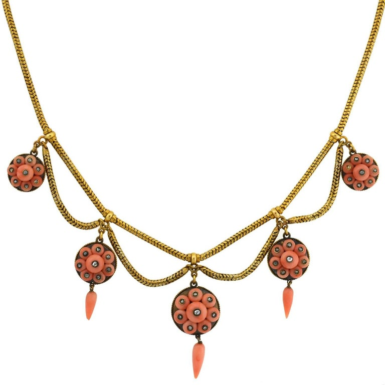 Victorian Natural Coral Rose Cut Diamond Festoon Necklace