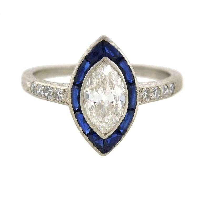 Art Deco 1.00 Carat Marquis Cut Diamond Sapphire Engagement Ring