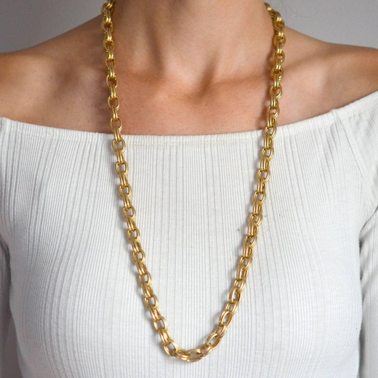 Krementz 1950s Gold Link Chain Necklace For Sale 4