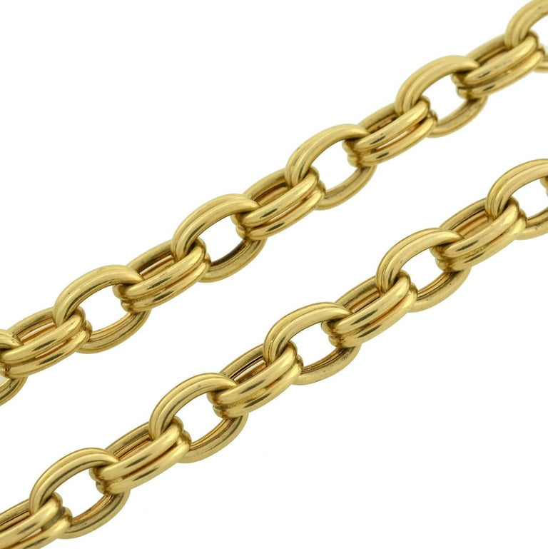Krementz 1950s Gold Link Chain Necklace In Excellent Condition For Sale In Narberth, PA