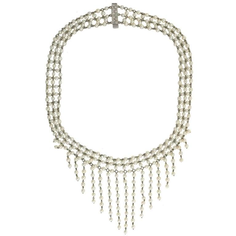 Edwardian Dramatic Multi Strand Pearl Festoon and Diamond Necklace