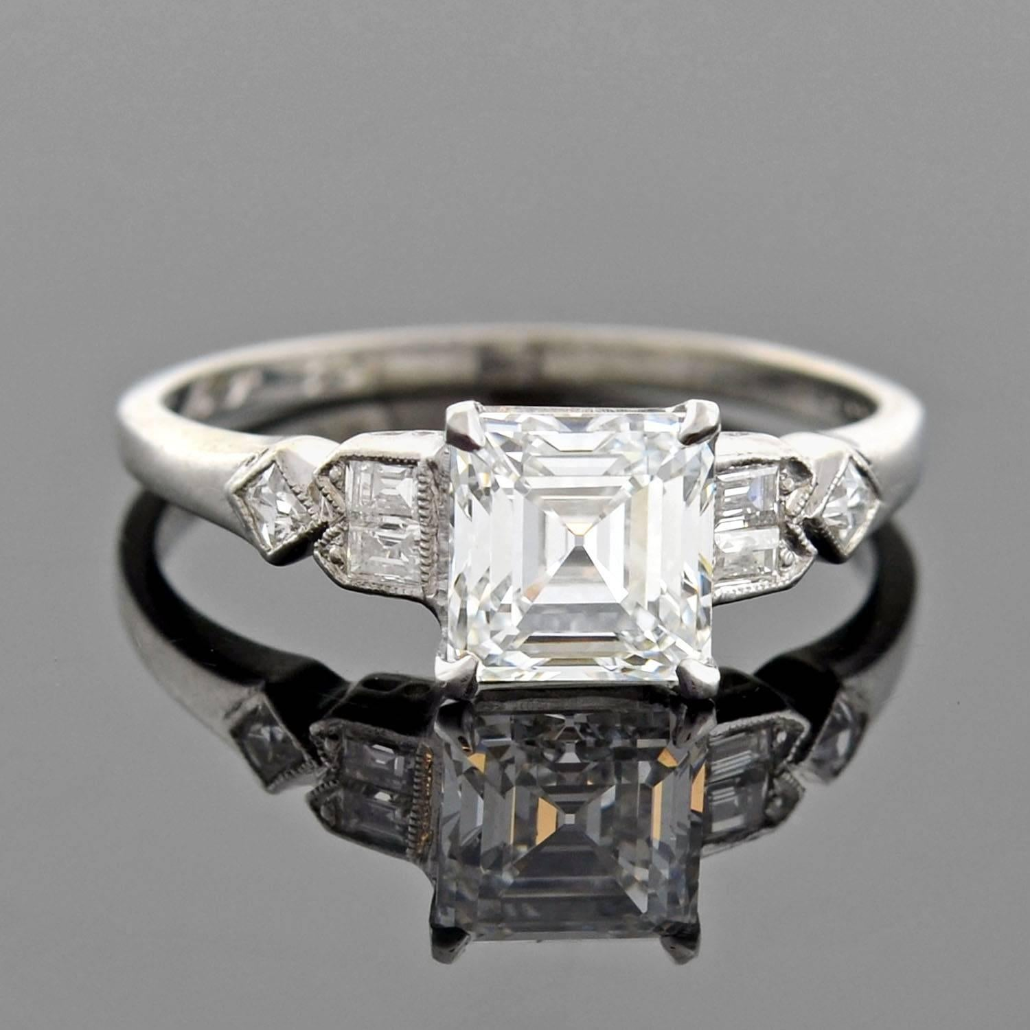 e63f45223eeab Retro GIA Certified 1.39 Carat Square Emerald Cut Diamond Engagement Ring