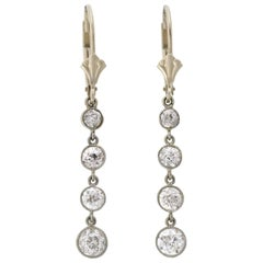 Edwardian 2.35 Total Carat Multi Diamond Drop Earrings