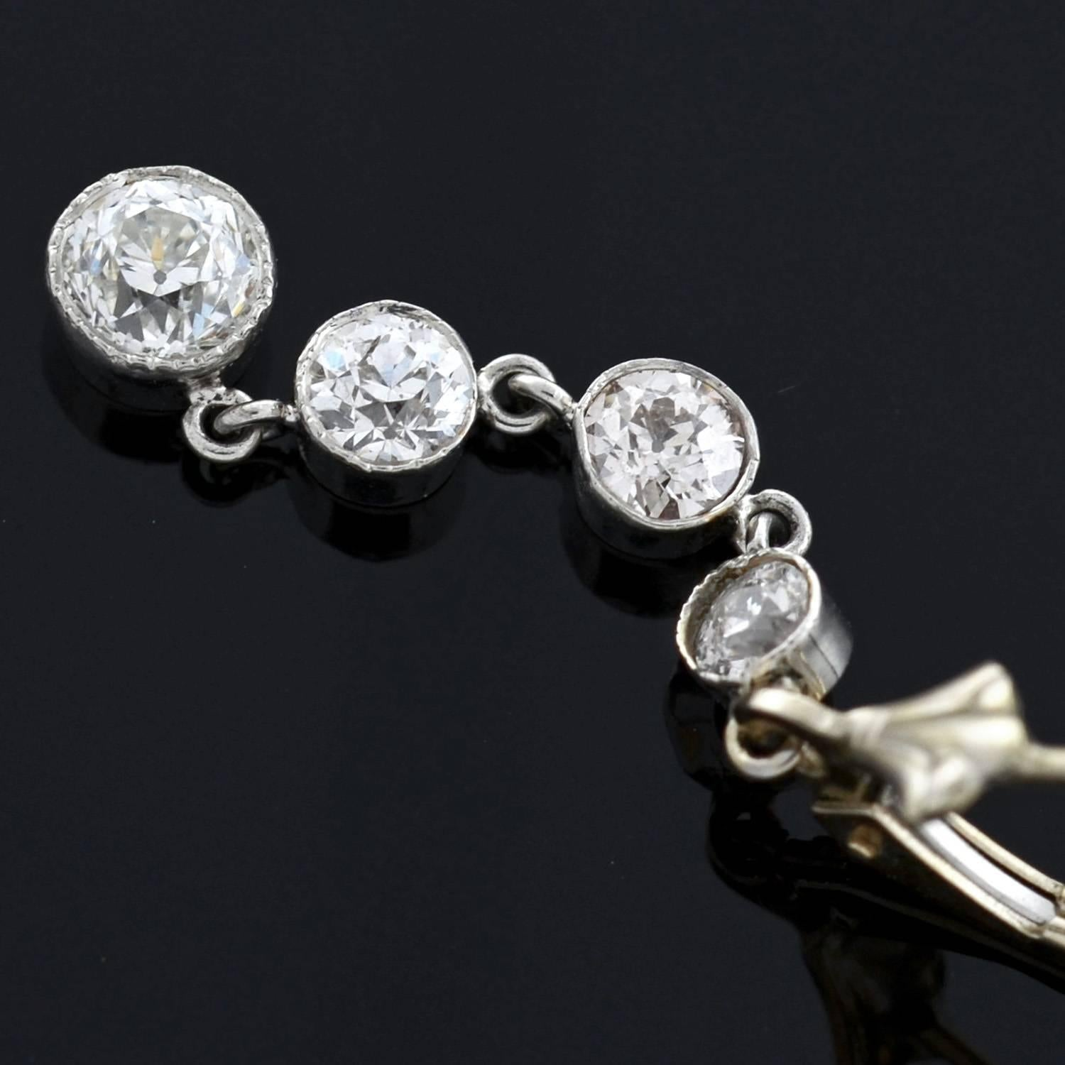 Edwardian 2 35 Total Carat Multi Diamond Drop Earrings For Sale at