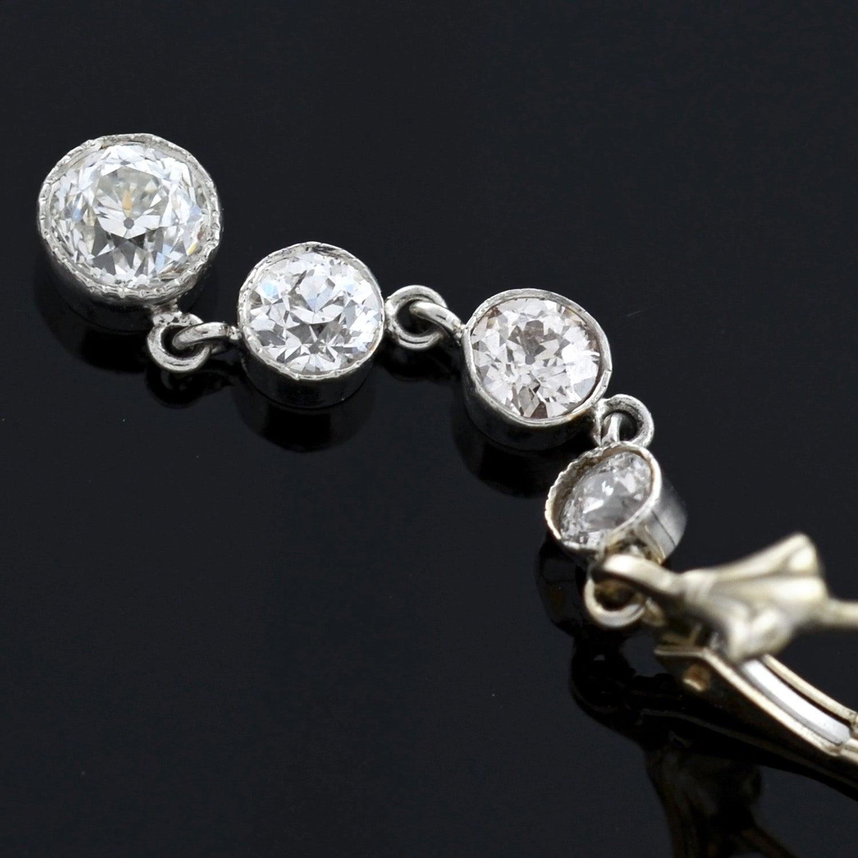 Edwardian 2 35 Total Carat Multi Diamond Drop Earrings For Sale at