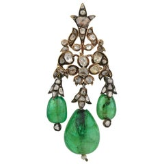 Exceptional Early Victorian Emerald, Diamond and Pearl Pendant in Original Box