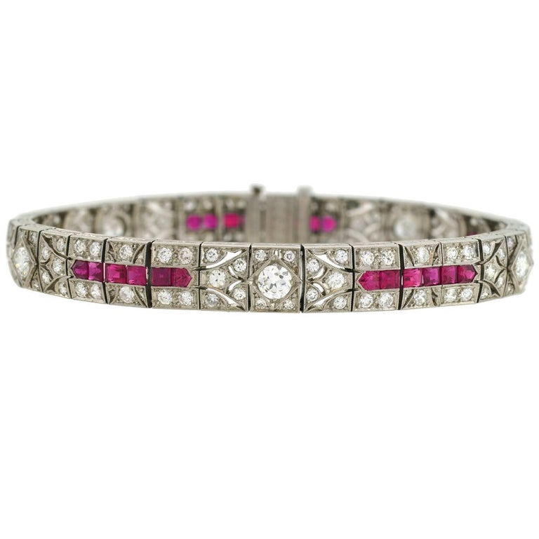 Art Deco Diamond and Natural Ruby Platinum Line Bracelet