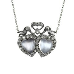 Victorian Carved Moonstone Diamond Double Heart Necklace